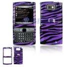 Hard Plastic Design Cover Case for Samsung Epix i907 - Purple Black Zebra