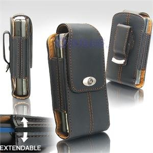 Black Leather Vertical Extendable Belt Clip Pouch Case for Samsung Instinct M800 (#2)