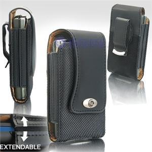 Black Leather Vertical Extendable Belt Clip Pouch Case for Samsung Instinct M800 (#3)