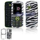 Hard Plastic Design Cover Case for Samsung Gravity T459 - Black / White Zebra