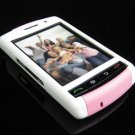 PREMIUM Hard Plastic Shield Cover Case for BlackBerry Storm 9500/9530 - White / Pink