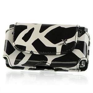 Horizontal Leather Safari Pouch Case Cover for Palm Centro 690 - Black / White Giraffe #2