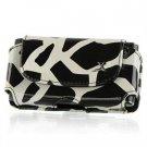 Horizontal Leather Safari Pouch Case Cover for LG Xenon GR500 (AT&T) - Black / White Giraffe #2