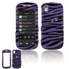 Hard Plastic Design Cover Case for Samsung Instinct S30 - Purple / Black Zebra