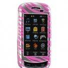 Hard Plastic Design Cover Case for Samsung Impression A877 (AT&T) - Hot Pink / Silver Zebra