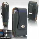 Black Leather Vertical Extendable Belt Clip Pouch Case for Palm Treo Pro (#3)