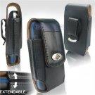 Black Leather Vertical Extendable Belt Clip Pouch Case for Palm Treo Pro (#4)