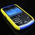 Hard Plastic Two Piece Dual Color Rubber Feel Faceplates for Blackberry 8900 - Blue / Yellow