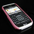 Hard Plastic Robotic Cover Case for Nokia E71 - Pink / White