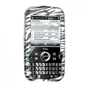 Hard Plastic Design Cover Case for Palm Treo Pro 850 - Silver / Black Zebra