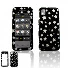 Hard Plastic Design Faceplate Case for Samsung Instinct M800 - Black / Silver Stars