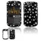 Hard Plastic Design Cover Case for BlackBerry Tour 9600/9630 - Black / Silver Stars