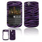 Hard Plastic Design Cover Case for BlackBerry Tour 9600/9630 - Purple / Black Zebra