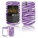 Hard Plastic Design Cover Case for BlackBerry Tour 9600/9630 - Purple / White Zebra