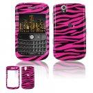 Hard Plastic Design Cover Case for BlackBerry Tour 9600/9630 - Black / Hot Pink Polka Dots