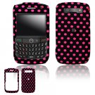 Hard Plastic Design Cover Case for BlackBerry Javelin 8900 - Black / Hot Pink Polka Dots