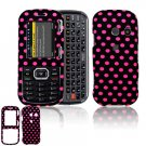 Hard Plastic Design Cover Case for LG Rumor 2 LX265 - Black / Hot Pink Polka Dots
