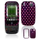Hard Plastic Design Shield Cover Case for Palm Pre - Hot Pink / Black Polka Dots