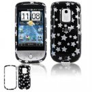 Hard Plastic Design Faceplate Case Cover for HTC Hero - Black/Silver Stars