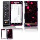 Hard Plastic Design Faceplate Case Cover for Motorola Droid - Black/Pink Stars