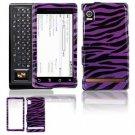 Hard Plastic Design Faceplate Case Cover for Motorola Droid - Purple/Black Stripes