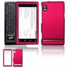 Hard Plastic Rubber Feel Faceplate Case Cover for Motorola Droid - Rose Pink