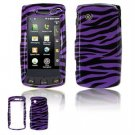 Hard Plastic Design Faceplate Case Cover for LG Bliss UX700 - Purple/Black Stripes