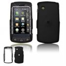 Hard Plastic Rubber Feel Faceplate Case Cover for LG Bliss UX700 - Black Gem Bling