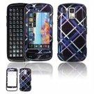Hard Plastic Design Faceplate Case Cover for Samsung Rogue U960 - Dark Blue/Black