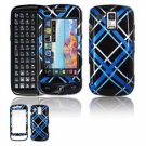 Hard Plastic Design Faceplate Case Cover for Samsung Rogue U960 - Light Blue/Black