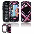 Hard Plastic Design Faceplate Case Cover for Samsung Rogue U960 - Pink/Black