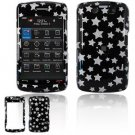 Hard Plastic Design Faceplate Case Cover for Blackberry Storm 2 9550 - Black/Silver Stars