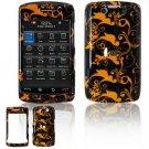 Hard Plastic Design Faceplate Case Cover for Blackberry Storm 2 9550 - Gold/Black