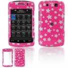 Hard Plastic Design Faceplate Case Cover for Blackberry Storm 2 9550 - Pink/Silver Stars