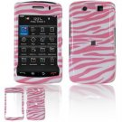 Hard Plastic Design Faceplate Case Cover for Blackberry Storm 2 9550 - Pink/White Stripes