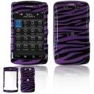 Hard Plastic Design Faceplate Case Cover for Blackberry Storm 2 9550 - Purple/Black Stripes