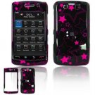 Hard Plastic Rubber Feel Faceplate Case Cover for Blackberry Storm 2 9550 - Black/Pink Stars