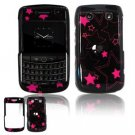 Hard Plastic Shield Protector Faceplate Case for BlackBerry Bold 2 9700 - Pink/Black Stars