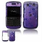 Hard Plastic Shield Protector Faceplate Case for BlackBerry Bold 2 9700 - Purple Rain Drops
