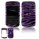 Hard Plastic Shield Protector Faceplate Case for BlackBerry Bold 2 9700 - Purple/Black Stripes