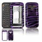 Hard Plastic Design Faceplate Case Cover for HTC Touch Pro 2 (Sprint) - Purple/Black Stripes
