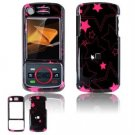 Hard Plastic Design Faceplate Case Cover for Motorola Debut i856 - Black/Pink Stars
