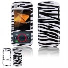Hard Plastic Design Faceplate Case Cover for Motorola Debut i856 - Black/White Stripes
