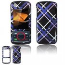 Hard Plastic Design Faceplate Case Cover for Motorola Debut i856 - Dark Blue/Black