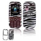 Hard Plastic Design Faceplate Case Cover for Samsung Gravity 2 T469 - Black/White Stripes