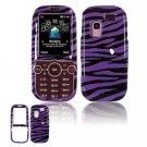Hard Plastic Design Faceplate Case Cover for Samsung Gravity 2 T469 - Purple/Black Stripes