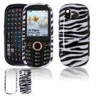 Hard Plastic Design Faceplate Case Cover for Samsung Intensity U450 - Black/White Stripes