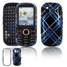 Hard Plastic Design Faceplate Case Cover for Samsung Intensity U450 - Light Blue/Black