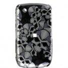 Hard Plastic Design Cover Case for BlackBerry Curve 8520 (T-Mobile) - Black Skulls