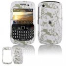 Hard Plastic Design Cover Case for BlackBerry Curve 8520 (T-Mobile) - White/Gray Floral